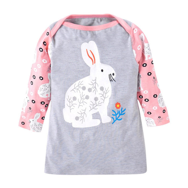 Toddler Infant Baby Kids Cartoon Rabbit Print Dress