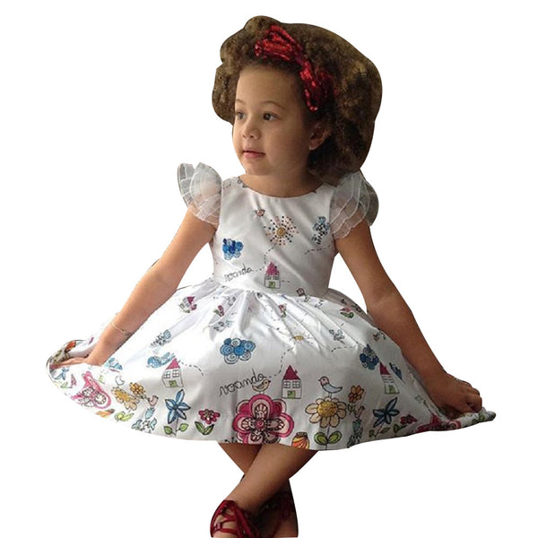 Kids Baby Girl Cartoon Floral Princess Dress