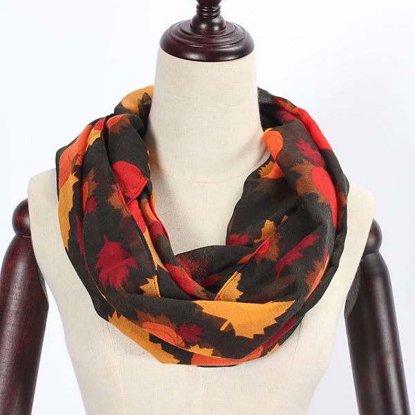 Women Pumpkin Maple Long Soft Wrap Scarf