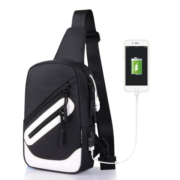 Men Chest USB Charging Waterproof Shoulder Bags