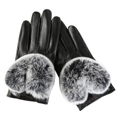 Women's Leather Gloves Autumn Winter Bow Warm