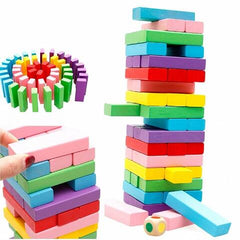 48/51 PCs Wooden Tower Building Blocks Toy