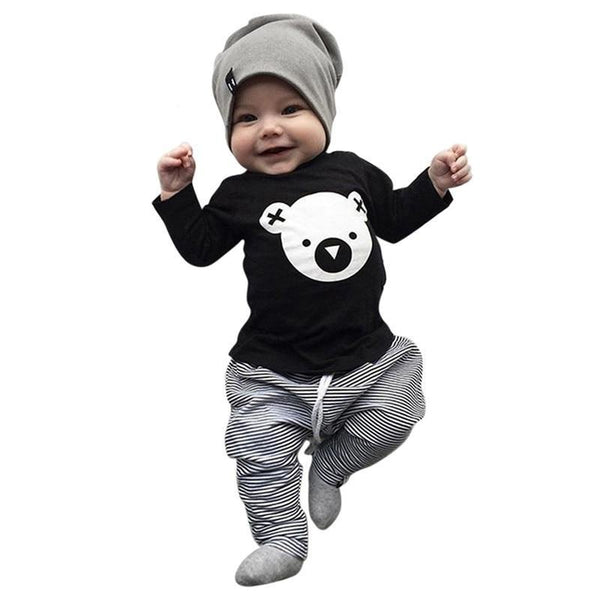 2pcs Toddler Baby Boys Set Long Sleeve Cartoon Print
