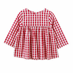 Baby girl's checked long sleeve dress