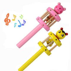 Wooden Toy Rattles Cartoon Animal Musical Instrument