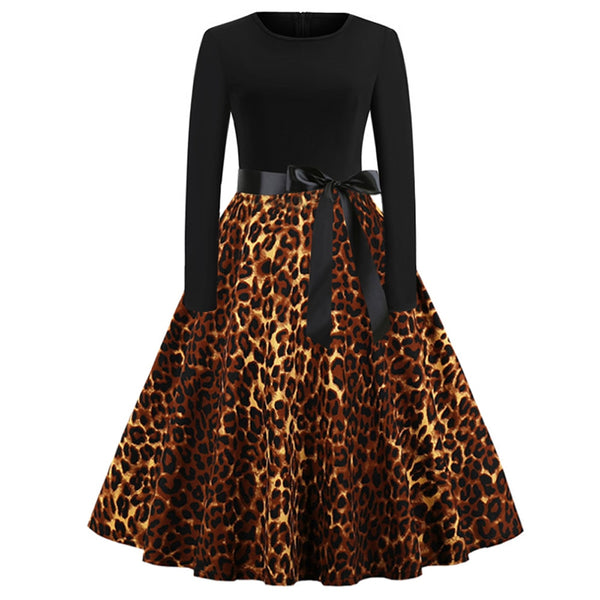 Vintage Women's Leopard Print Dress Causal Long Sleeve