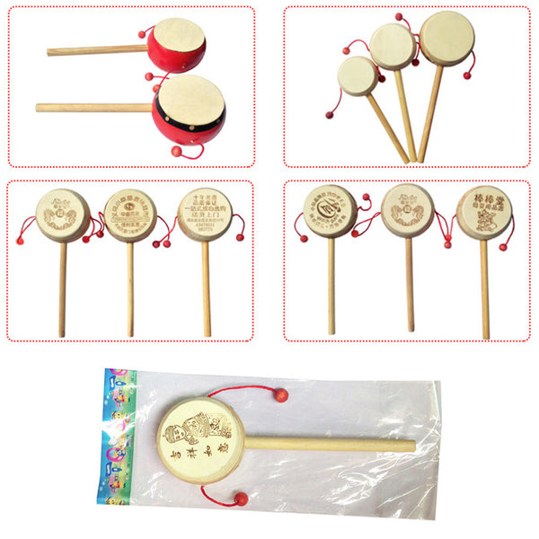 Baby Kids Child Wood Rattle Drum Instrument Musical Toy
