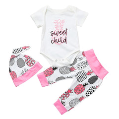 Baby pineapple short - sleeved three-piece Set