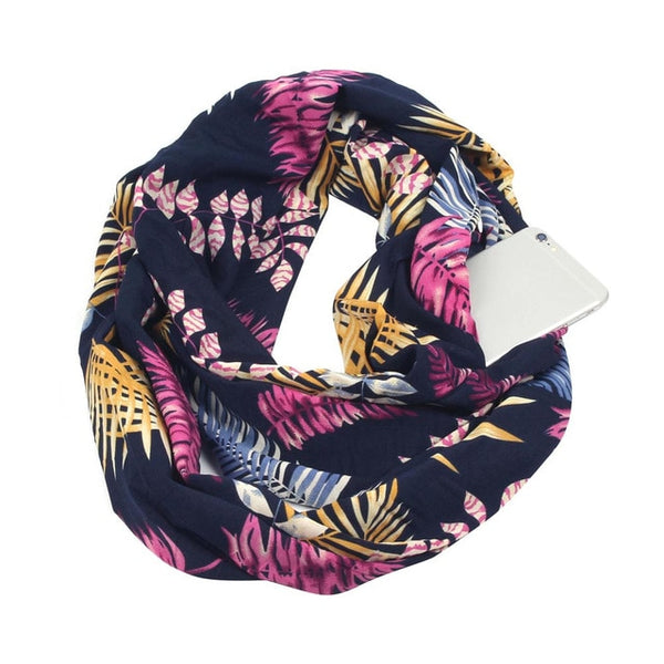 Women Print Winter Convertible Scarf Pocket Loop