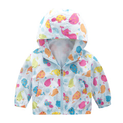 Cartoon Print Zipper Hooded Coat Baby Outerwear