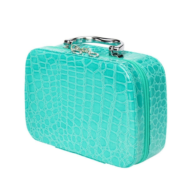 PU Leather Travel Cosmetic Bag With Mirror Makeup