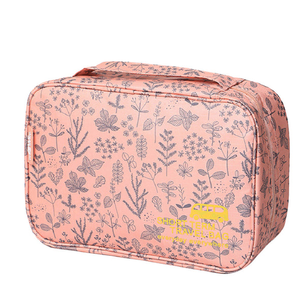 Portable Makeup Bag Women Floral Printing Cosmetic
