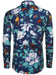 Men Shirt Tops Long Sleeve Turn Down Collar Floral