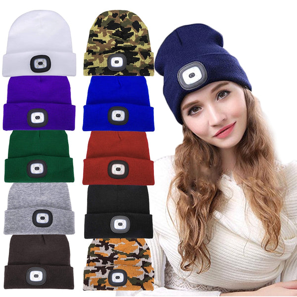 10-Colors LED Beanie Hat with USB Rechargeable Battery 5-Hour