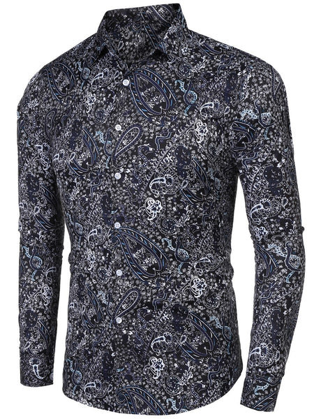 Men's Sleeve Shirt Long Tops Breasted Down Collar Printed