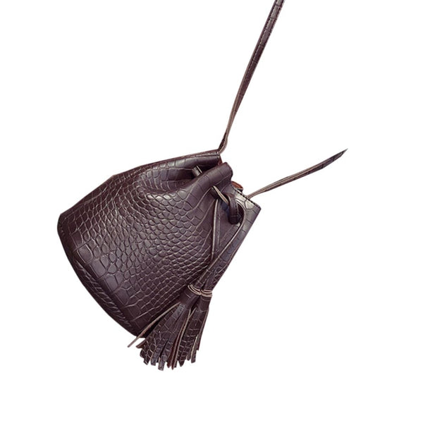 Lady leather crocodile bucket strap shoulder bag