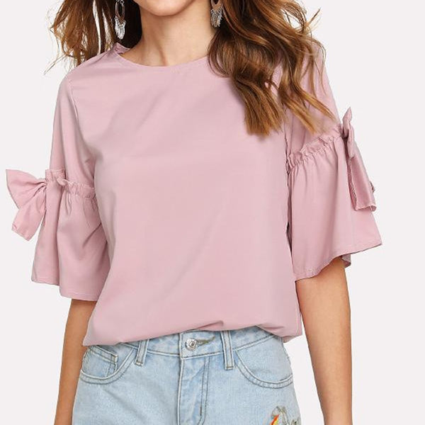 Sleeve Blouse Shirt Casual Bow-Knot O-Neck Women Tops