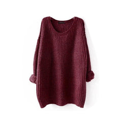 Medium Length Women Loose Sweaters Round Collar