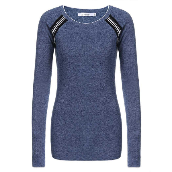 Patchwork O-Neck Sweater Casual Long Sleeve Women