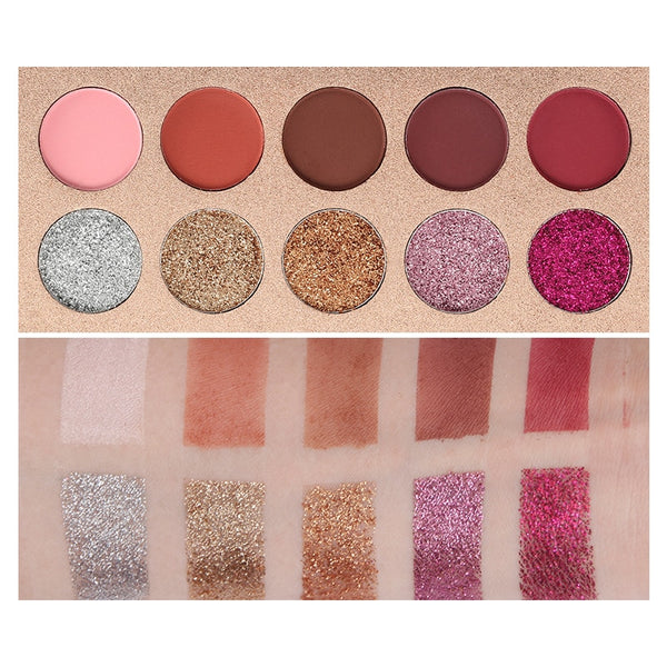 10 Color Shimmer Matte Eyeshadow Pallete Waterproof