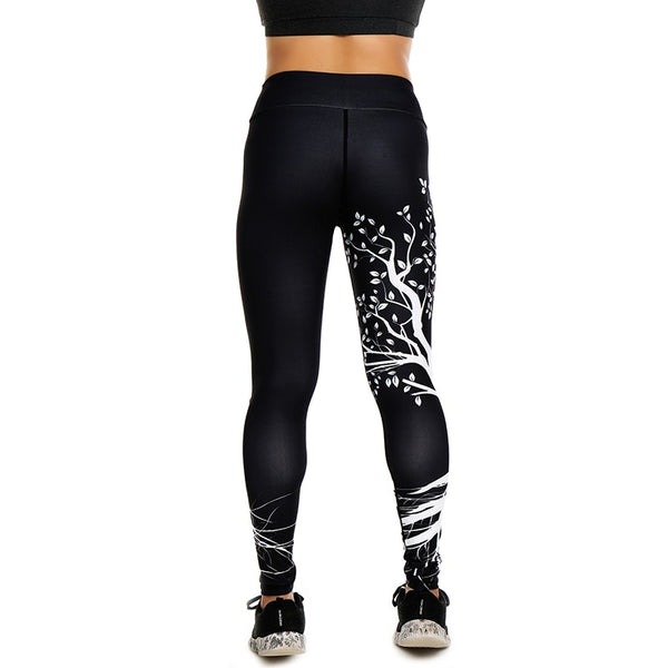 Women Sexy Yoga Pants Trees Printed Dry Fit