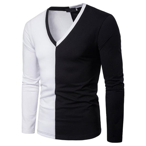 Men's Casual Patchwork Slim T Shirt V Neck Tops