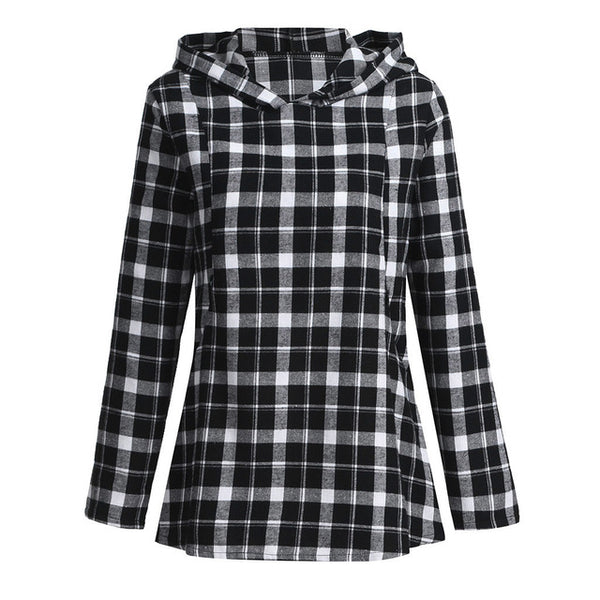 Women's Nursing Long Sleeves Plaid Tops