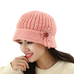 Women's Flower Knit Crochet Beanie Hat Lady Casual Winter