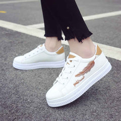 Women's flat waterproof sneakers white casual shoes