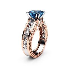 Women Rose Gold Wedding Engagement Floral Ring