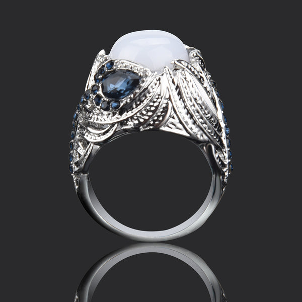 Unique Floral Ring Moonstone Treasure