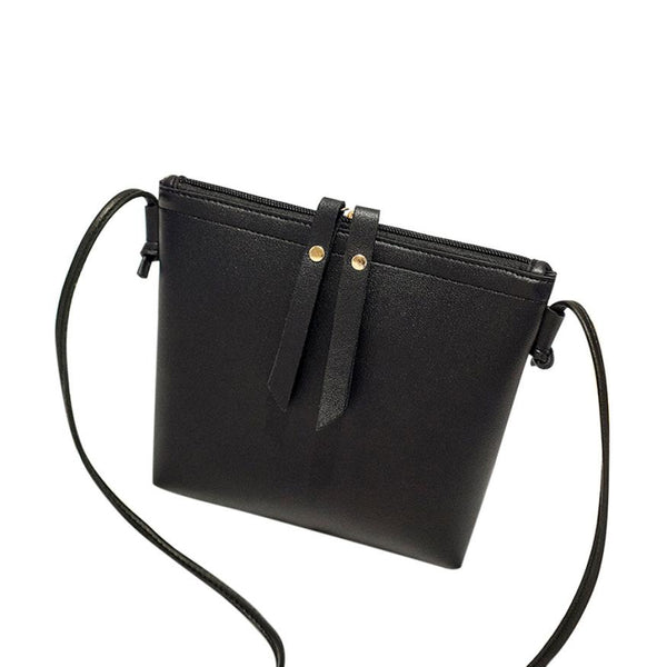 Pure color Double zipper single shoulder bag