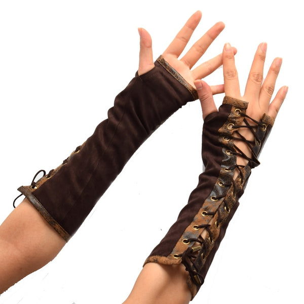Women's Gloves Steampunk Tie-Up Brown