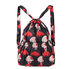 Women Printed Pattern Backpack Bag Drawstring