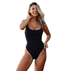 Women O-neck Sleeveless One-piece Backless Swimsuit