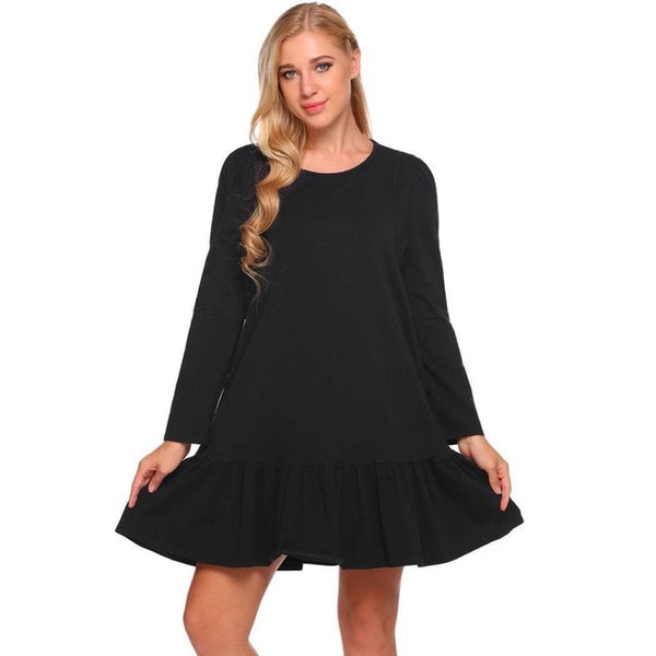 Nightgown Long Sleeve Women Dress Sleepwear