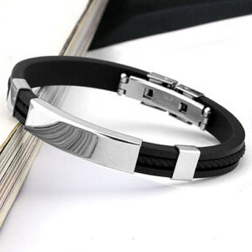 Men's Women's Cool Stainless Steel Rubber Wristband Bangle Clasp Cuff Bracelet