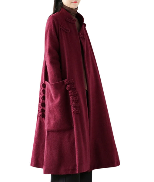 Women Long Jacket Wool Blend Overcoat Outwear