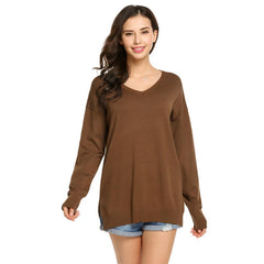 Sleeve Solid Loose V-neck Sweater Long Women