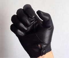 Men leather wrist button top gloves black