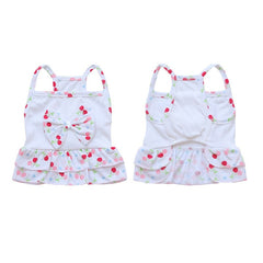 Dog Dress Harness Braces Soft With Cherry Pattern for Teddy Poodle