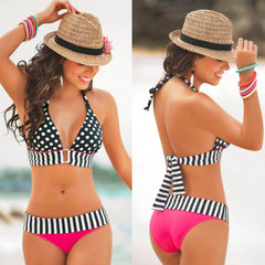 Retro Fringe Vintage Swimsuit Polka Dots