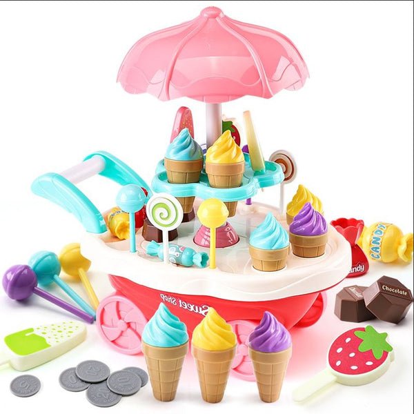 Rotary Lights Ice Cream Candy Cart Toy Educational