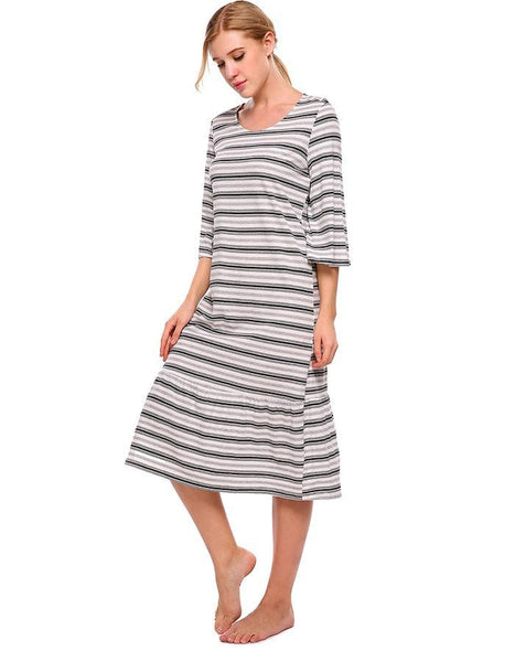 Women Love Striped Sleeve Loose Sleepwear
