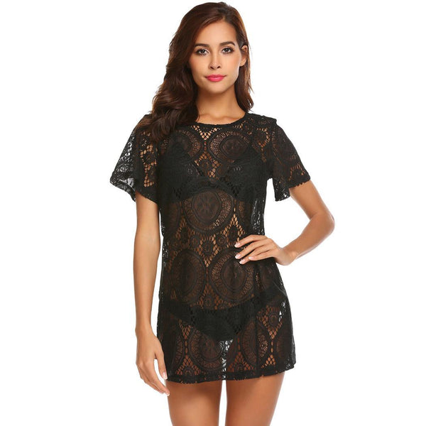 Women Swimsuit Bikini Cover ups Hollow Out Sheer