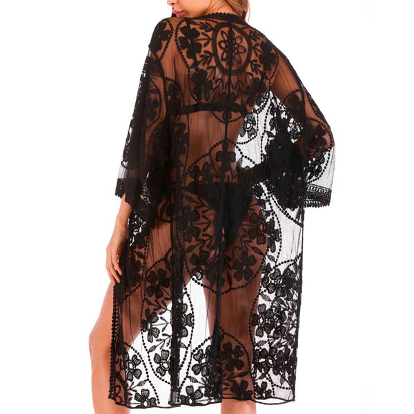 Women Summer Hollow-Out Lace Bikini Cover Up Suit