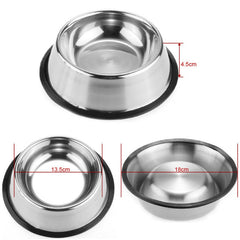 Pet Dog Stainless Steel Durable Food Water Bowls Cat Puppy Easy Clean