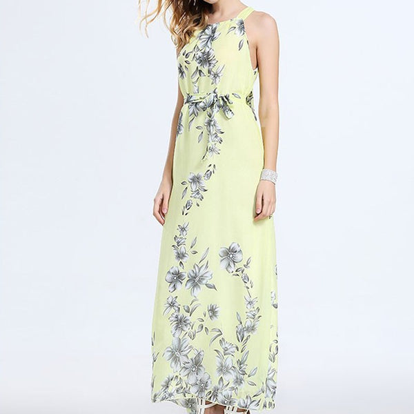 Summer Sleeveless Floral Print Dress Women Beach