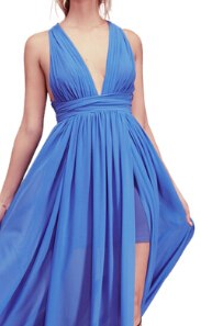 Women Summer Chiffon Dress Deep V-neck Beach
