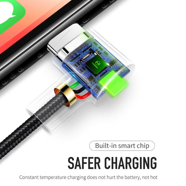 USB Cable For iPhone,  LED Fast Data Charger For iPhone XS Max XR X 8 7 6 6S 5S iPad